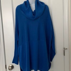 Crown & ivy bright blue cowl tunic sweater 3X